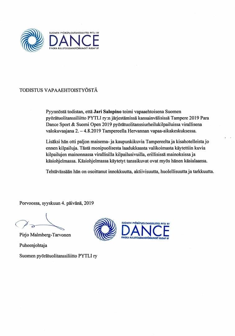 Kuvauspalvelu Salopino - Todistukset referenssit